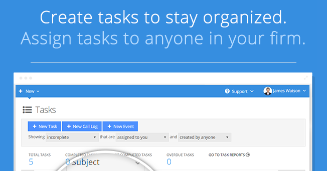 Create tasks to stay organized.
