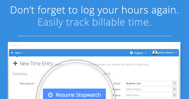 Easily track billable time.