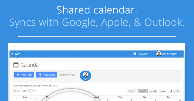 Shared calendar. Sync with Google, Apple, & Outlook.