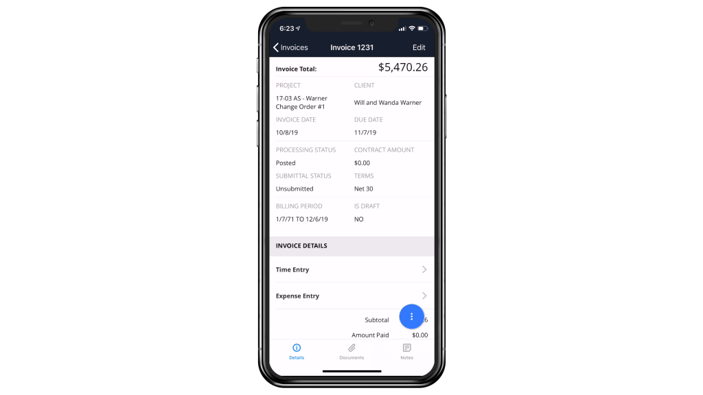 BQE CORE INVOICE SUMMARY SCREEN - MOBILE